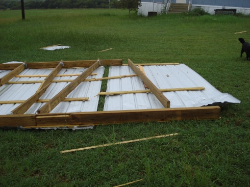 Now the tin roof is in the backyard (instead of the front).  The house is in the background.  See how far it flew?!